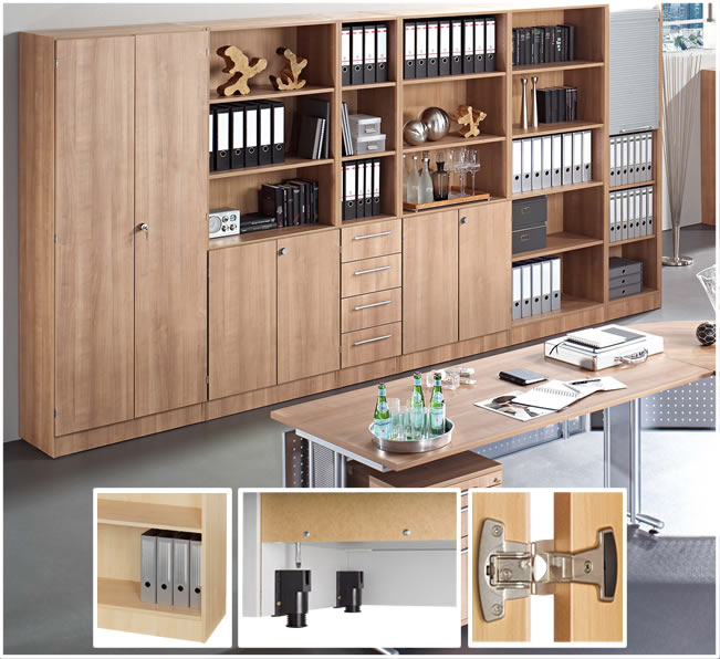 b m office aktenschrank f r 3 ordnerh hen mit schloss wei silber knauf mit schloss. Black Bedroom Furniture Sets. Home Design Ideas