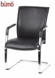 Bümö® Freischwinger Besucherstuhl mit Echtlederbezug & bequemer Sitzpolsterung