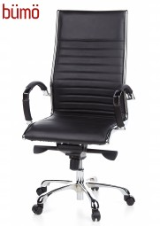 Bümö® Bürostuhl mit gesteppten Echtleder und verchromten Gestell