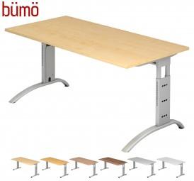 Bümö® Schreibtisch Serie-F in 7 Dekoren, 2 Gestellen, 9 Größen & Formen