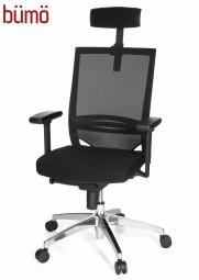 Bümö® Chefsessel mit Kopfstütze, atmungsaktivem Netzrücken & bequemen Sitzpolster