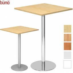 Bümö® Stehtisch eckig - Säulentisch mit Silber- oder Chromfuß